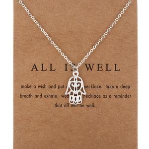 PREVIEW Silver Hamsa Fatima Hand Necklace & Card
